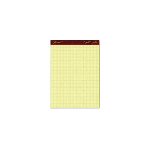 "AMPAD Corporation Gold Fibre Canary Quadrille Pad, 8-1/2"" x 11-3/4"", Canary, 4 squares/inch, 50 Sheets"