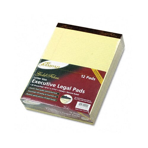 AMPAD Corporation Gold Fibre Pads, Narrow/Margin Rule, Letter, Canary, 50 Sheets, 12-Pack