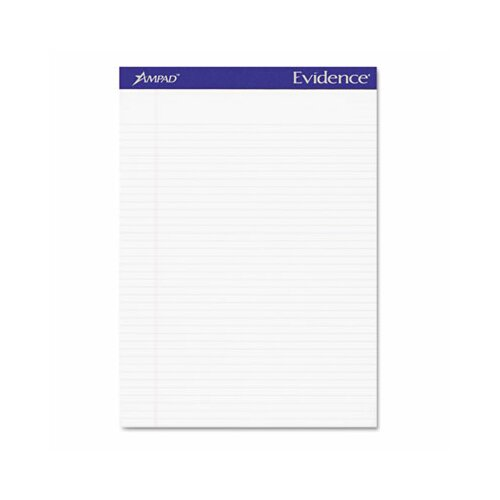 AMPAD Corporation Evidence Perf Top, Narrow Rule, Letter, 50-Sheet, 12/Pack