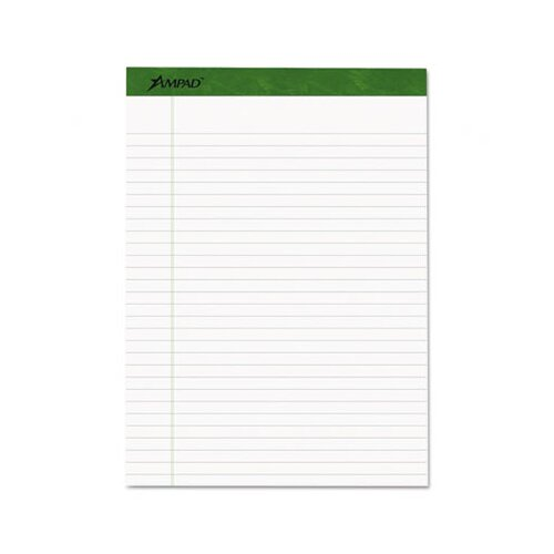 AMPAD Corporation Earthwise Envirotec Pad, Lgl/Wide Rule, 8-1/2 X 11-3/4, 4 40-Sheet Pads/Pack