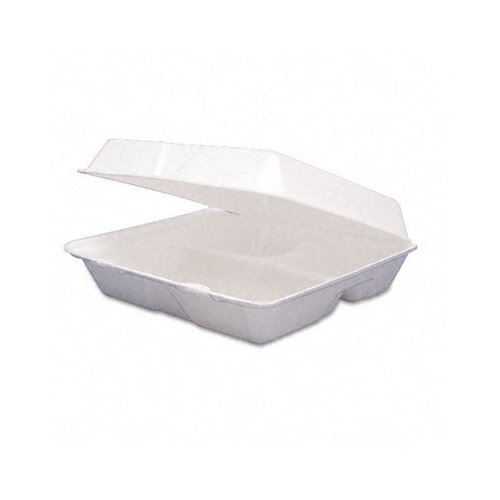 AmRep Dart Carryout Food Container, Foam Hinged 3-Compartment, 9-1/2 X 9-1/4 X 3, 200/Carton