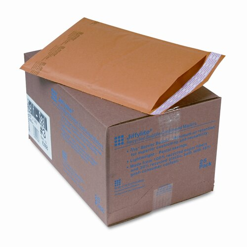 Sealed Air Corporation Jiffylite Self-Seal Mailer, Side Seam, #3, Golden Brown, 25/carton