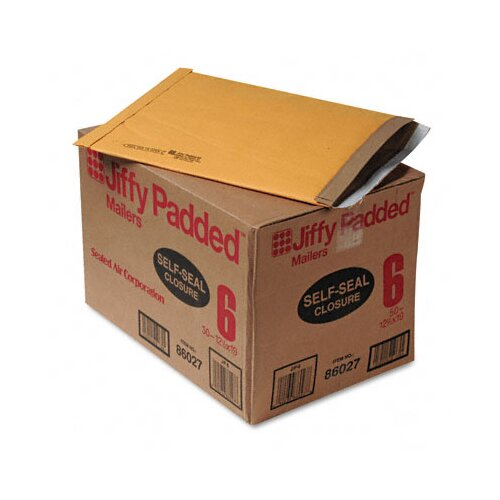 Sealed Air Corporation Jiffy Padded Self-Seal Mailer, Side Seam, #6, Golden Brown, 50/carton