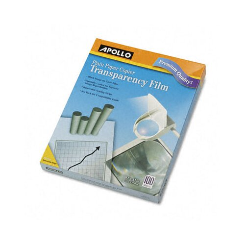 Apollo c/o Acco World Plain Paper Copier Transparency Film, Removable Sensing Stripe, 100/Box