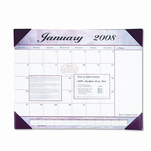 At-A-Glance Marbleized Monthly Desk Pad Calendar, 22 x 17, Burgundy, 2013