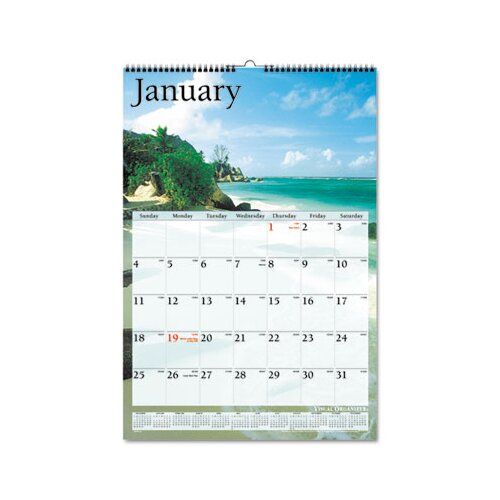 At-A-Glance Scenic Full-Color Photographic Monthly Wall Calendar, 15-1/2 x 22-3/4, 2013