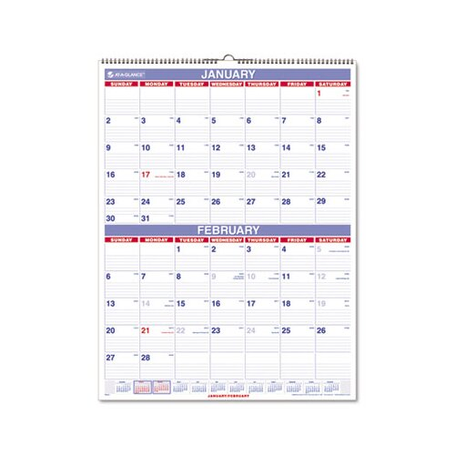 At-A-Glance Two-Months-per-Page Wall Calendar, 22 x 29, 2014