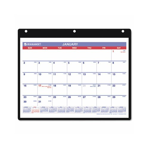 At-A-Glance Monthly Desk Pad/Wall/Ring Binder Calendar, 3-Hole Punched, 11 x 8-1/4, 2013