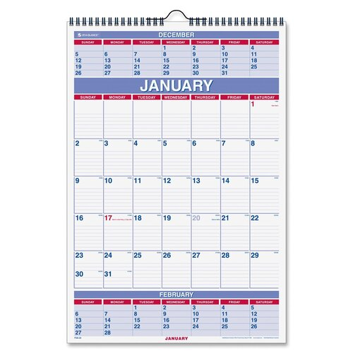 At-A-Glance Three-Months-per-Page Wall Calendar, Ruled Daily Blocks, 15-1/2 x 22-3/4, 2013