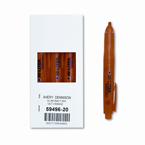 Avery Consumer Products Retractable Pen Style Highlighter, Chisel Tip, Orange Ink, 12/pack