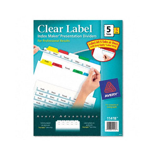 Avery Consumer Products Index Maker Divider (5 Tabs, 5 Sets/Pack)