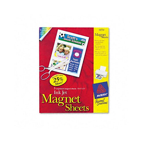 Avery Consumer Products Personal Creations Inkjet Magnet Sheets, 5/Pack