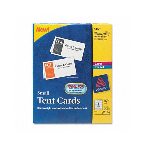 Avery Consumer Products Tent Cards, 4 Cards/Sheet, 160 Cards/Box