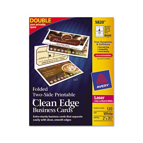 Avery Consumer Products Edge Laser Business Cards, 120/Box
