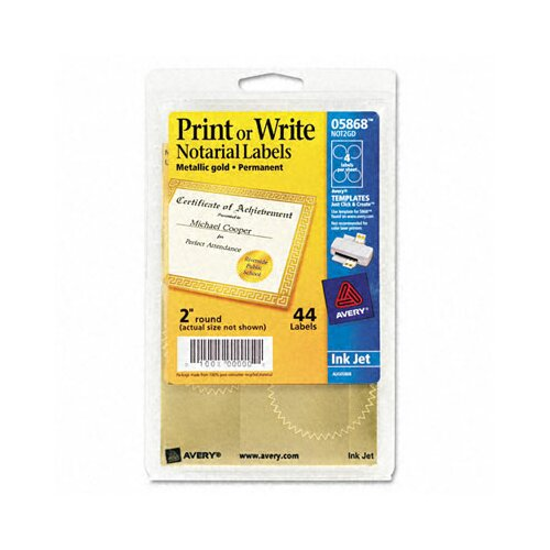 Avery Consumer Products Inkjet Print or Write Notarial Seals, 44/Pack