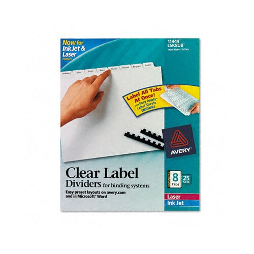 Avery Consumer Products Index Maker Clear Label Unpunched Divider (8 Tabs, 25 Sets/Pack)