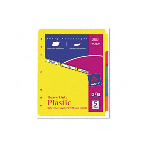 Avery Consumer Products Plastic Index Dividers, White Self-Stick Labels (5 Tabs, 1 Set/Pack)