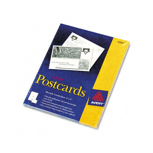 Avery Consumer Products 5389 Laser Postcards, Two Per Sheet, 100 Cards/Box