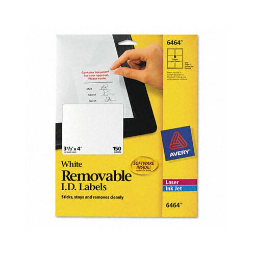 Avery Consumer Products Removable Inkjet/Laser I.D. Labels, 150/Pack