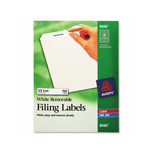 Avery Consumer Products Removable Inkjet/Laser Filing Labels, 750/Pack