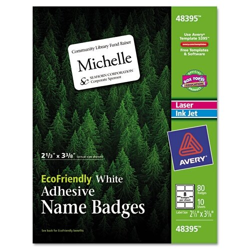 Avery Consumer Products Ecofriendly Name Badge Labels, 80/Pack