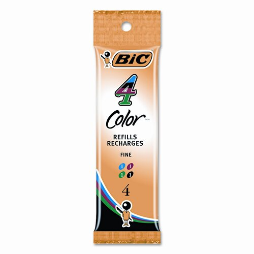Bic Corporation Refill for 4-Color Retractable Fine Point Ballpoint (4/Pack)