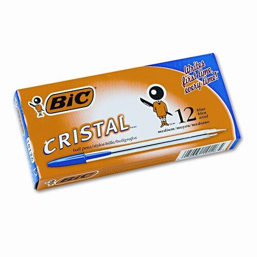 Bic Corporation Medium Cristal Ballpoint Stick Pen, 12/Pack