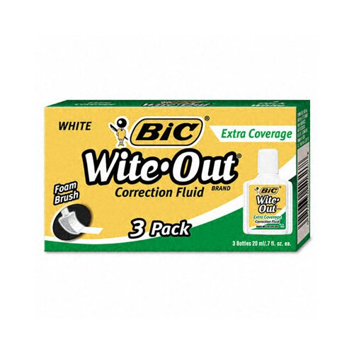 Bic Corporation 20 Ml Bottle Wite-Out Extra Coverage Correction Fluid (3/Pack)