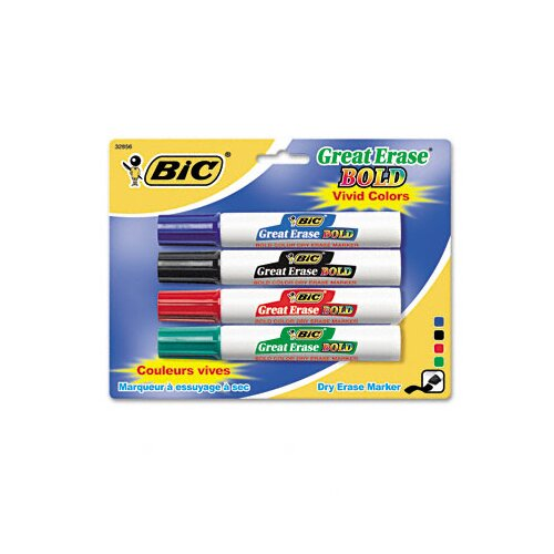 Bic Corporation Great Erase Bold Dry Erase Chisel Tip Markers (4/Pack)