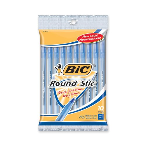 Bic Corporation Round Stic Ballpoint Pen,Med. Point,10/PK,Blue Ink