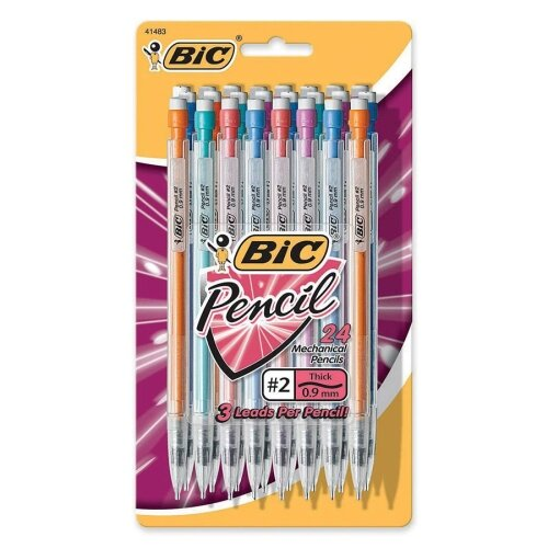 Bic Corporation Mechanical Pencils w/Pocket Clip, w/Pocket Clip, .9mm, 24/PK, Assorted