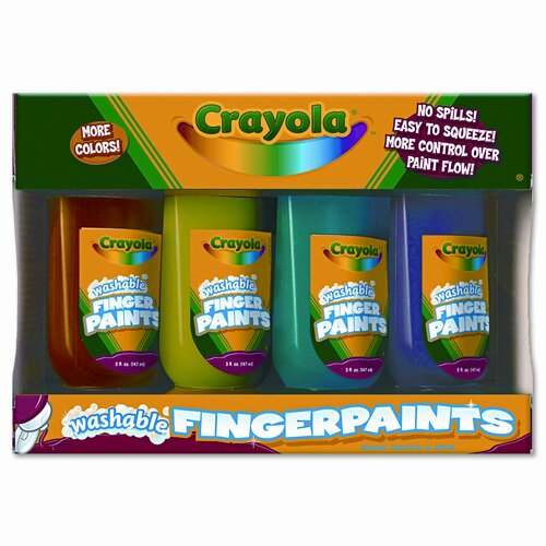 Crayola LLC Washable Fingerpaint Pack, 4 Oz Tubes, 4/Pack