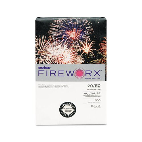 Boise® Fireworx Colored Paper, 20 lbs., 8-1/2 x 14, Bottle Rocket Blue, 500/Ream