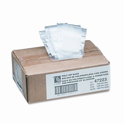 C-Line Products, Inc. Write-On Recloseable Poly Small Parts Bags, 2 X 3 (1000/Carton)