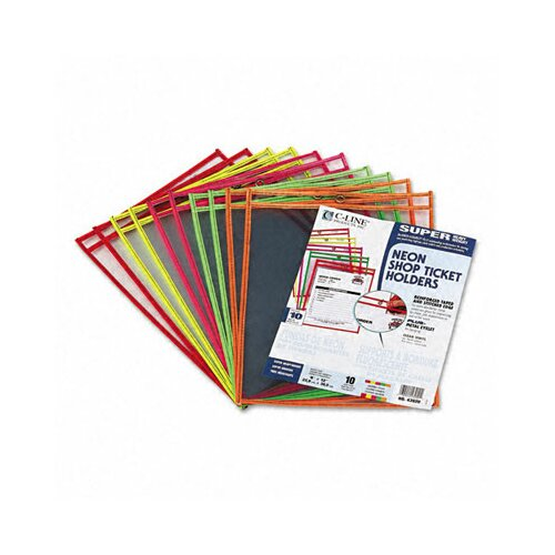 C-Line Products, Inc. Stitched Neon Shop Ticket Holder (10/Pack)