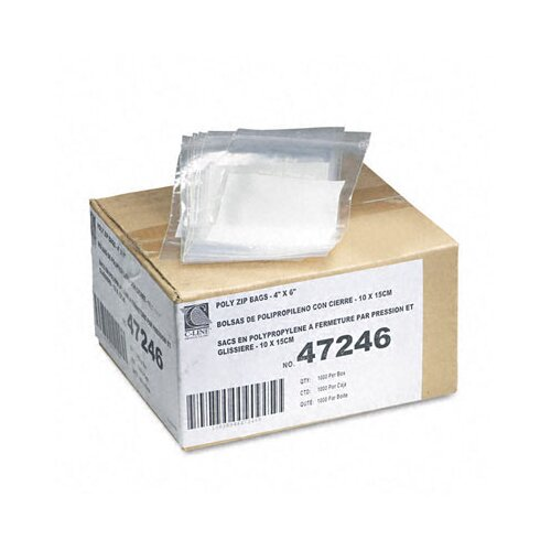 C-Line Products, Inc. Write-On Recloseable Poly Small Parts Bags, 4 X 6 (1000/Carton)