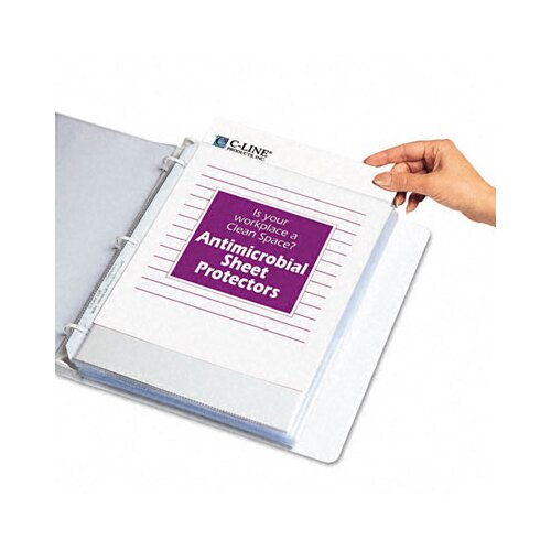 C-Line Products, Inc. Antimicrobial Hvywt Poly Sht Protector with Top-Loading (100/Box)