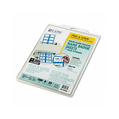 C-Line Products, Inc. Self-Adhesive Inkjet/Laser Printer Name Badges, 3-3/8 X 2-1/3, 200/Box