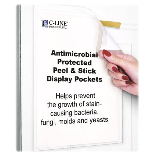 C-Line Products, Inc. Pockets, Antimicrobial Peel/Stick, Letter, 10 per Pack, Clear
