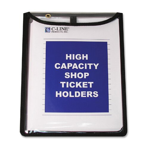 """C-Line Products, Inc. Shop Ticket Holders, Flap w/ Velcro Closure, 9""""x12"""", 15 per Pack, Clear"""