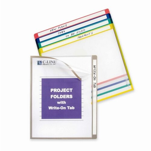 "C-Line Products, Inc. Project Folders, Colored, 11""x8-1/2"", 25 per Box, Assorted"