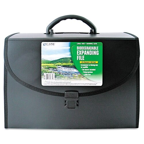 C-Line Products, Inc. Biodegradable 21-Pocket Legal Size Expanding File with Handle, Black, 1/EA