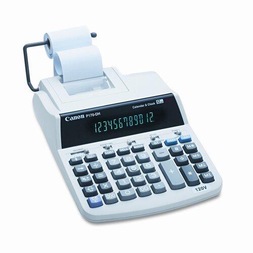 Canon P170DH Desktop Calculator, 12-Digit Fluorescent, Two-Color Printing