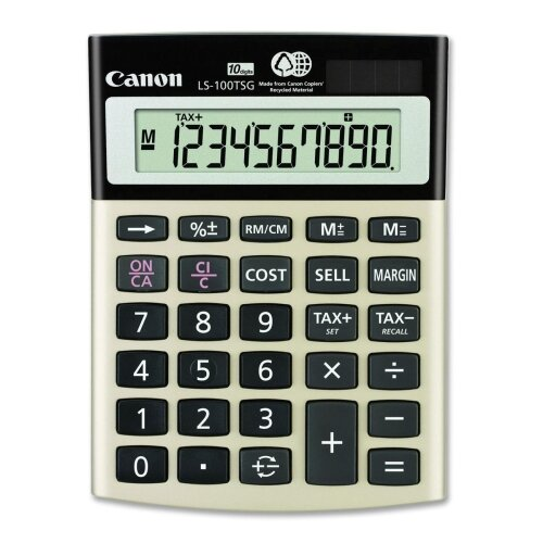 "Canon 10-Digit Calculator, Dual PoWhiter, 4-1/8""x5-1/2""x1-1/3"", Black"