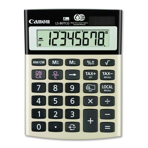 "Canon 8-Digit Calculator, Dual PoWhiter, 4-1/8""x5-1/2""x1-1/3"", Black"