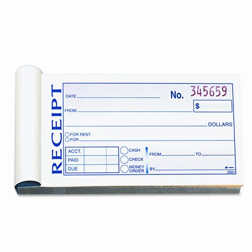 Cardinal Brands, Inc Money/Rent Receipt Book, 2-Part Carbonless, 2-3/4 x 5-3/8, 50 Sets