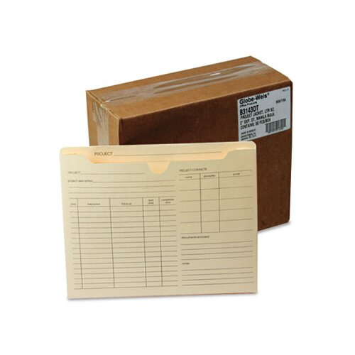 Cardinal Brands, Inc Globe-Weis Preprinted Expanded Project Jackets, Letter, 11 Point Manila (50/Box)