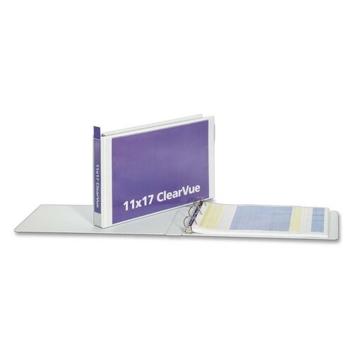 "Cardinal Brands, Inc Clearvue D-Ring Binders, 11""x17"", 1-1/2"" Capacity, White"