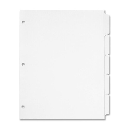 "Cardinal Brands, Inc Erasable Tab Dividers, 5-Tabs, 11""x8-1/2"", 5/Set, White"