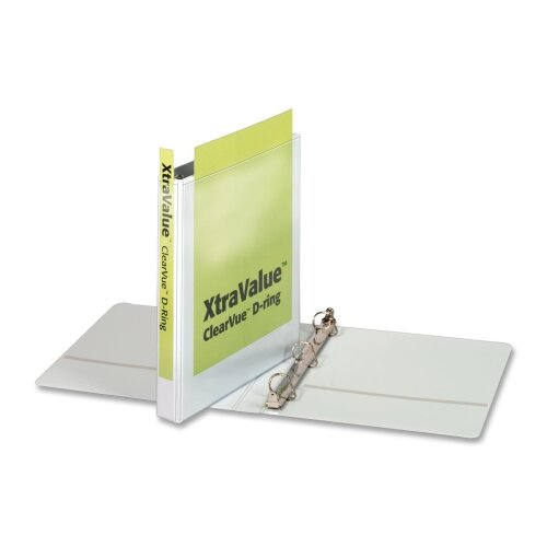 "Cardinal Brands, Inc Clear View Slant-D Ring Binders, 1"" Capacity, White"